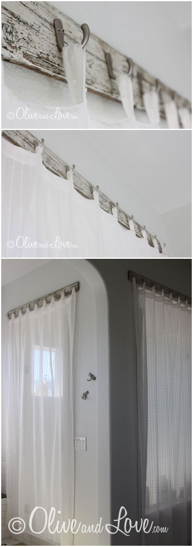 Hang curtains the new way! Scrap wood from an old bench, cheap hooks from Home Depot & sheer curtains from IKEA