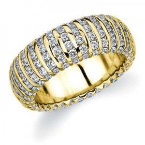 Vertical Line Eternity Ring - Yellow Gold | Eternity Wedding Bands