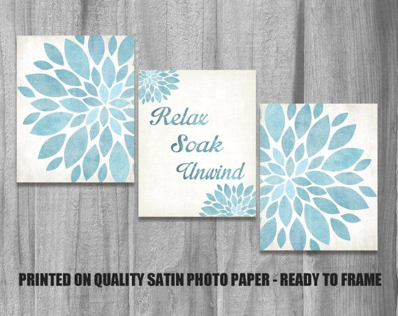 Superb Bathroom Wall Art Set Relax Soak Unwind Flower Prints Home Decor Vintage  Aqua Blue Green Spa