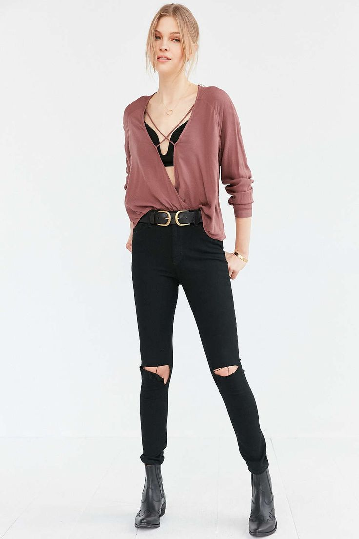 want pants this color! // Silence + Noise Mayfair Plunge Surplice Top - Urban Outfitters