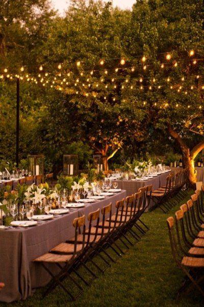 garden lighting & long tables set up.