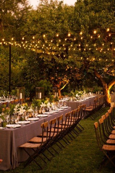 garden lighting & long tables #wedding