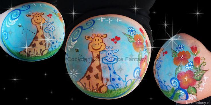 Bellypaint Bellypainting Giraffe babyboy buikschildering  Face Fantasy schminken Amersfoort  www.facefantasy.nl