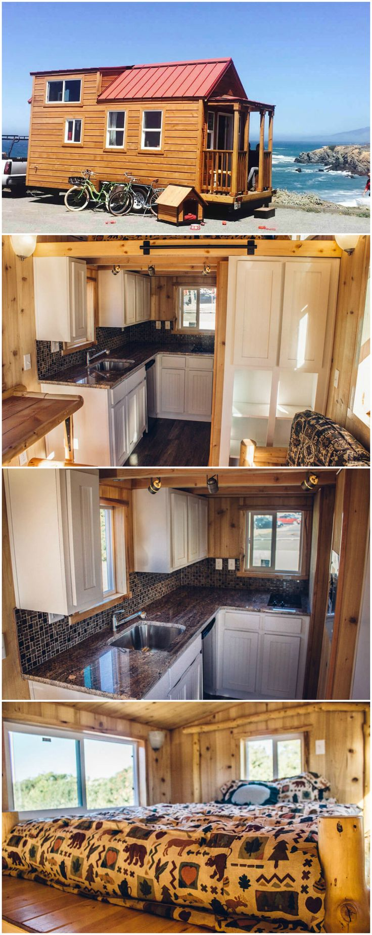 The Mt. Everest is an amazing tiny house built by Tiny Mountain Houses in Sacramento, CA.  This tiny house is built on a 22′ trailer and has a 3′ front porch. A total of 255 sq.ft. is split between the main level (161.5 sq.ft.) and two lofts: one large enough for a California King and the other a 25.5 sq.ft. storage area.  The price for this model starts from $44,900. Tiny Mountain Houses delivers to all 50 states.