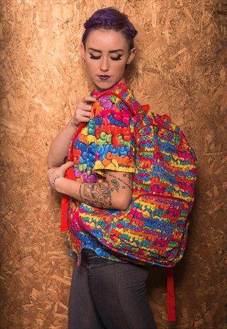 """DRIP"" RAINBOW MULTI-COLOURED BACKPACK BAG"