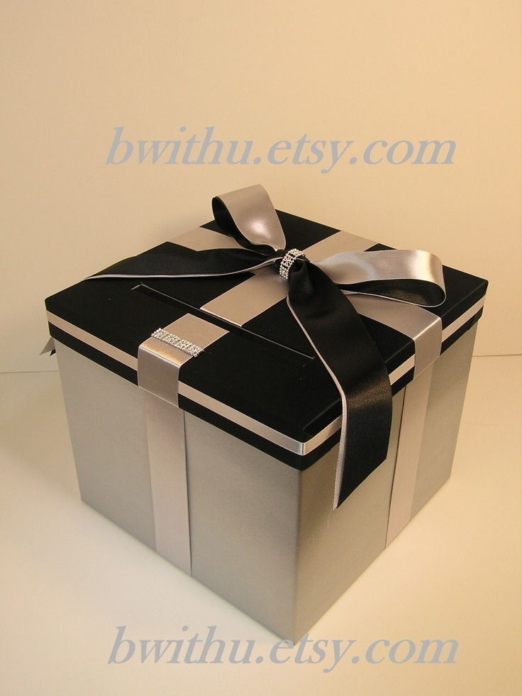 wedding gift card holders%0A Silver and Black Wedding Card Box Gift box Money Card HolderCustomize your  color