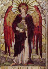 """Oración al arcángel Uriel: Mosaico del arcángel <a href=""""http://angelesymilagros.about.com/od/angeles-introduccion/a/el-arcangel-uriel-quien-es-que-significa.htm"""">Uriel</a> en la iglesia St. John, Boreham, Wiltshire. 1888, James Powell and Sons of the Whitefriars Foundry"""