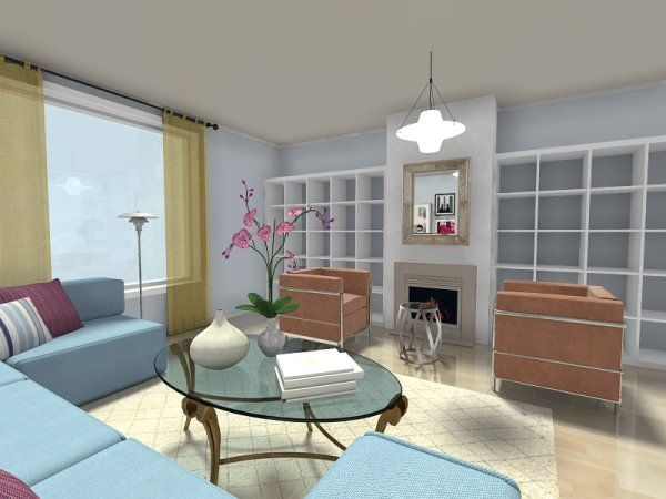 3d Floor Plan For A Contemporary Living Room With Built In Style Bookcases On Either