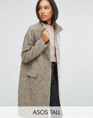 Oversize-пальто с добавлением шерсти и воротом-трубой ASOS TALL