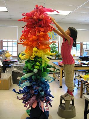 There's a Dragon in my Art Room: Water bottles into a Chihuly Tower. ...maybe an Earth Day project?