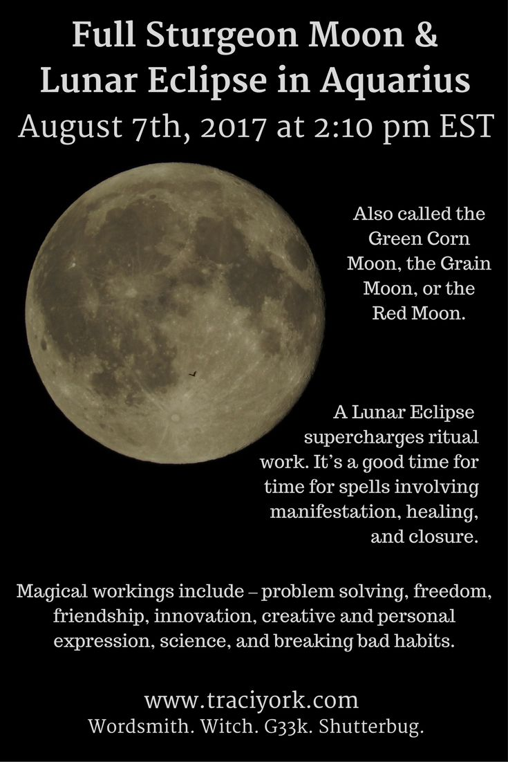 On Monday August 7th, the Full Sturgeon Moon & Lunar Eclipse in Aquarius arrives. Here's an infographic I created. Bright Blessings!