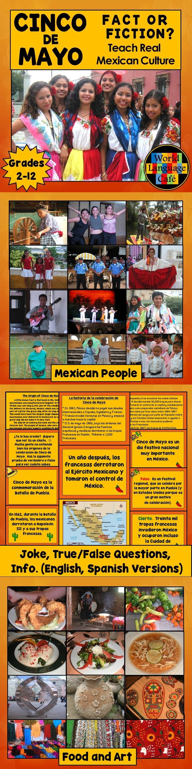 "Throw out your textbooks and use this Mexico lesson plan, PowerPoint presentation for Cinco de Mayo to teach your Spanish or English students what Mexico is really like.  * A joke (about Sinko de Mayo - the sinking of the huge shipment of mayonnaise aboard the Titanic) * True/false slides to quiz your students about what they know about Cinco de Mayo * The real Cinco de Mayo facts about what happened (students take notes on the ""after"" page) * Colorful photos and PPT presentation about…"