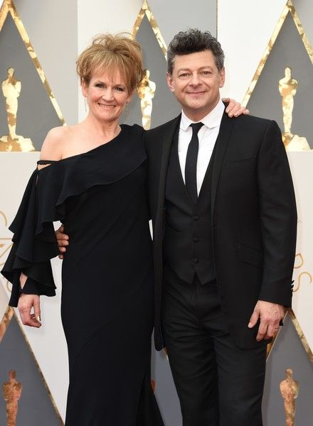 Actor Andy Serkis (R) and Lorraine Ashbourne arrive on the red carpet for the 88th Oscars on February 28, 2016 in Hollywood, California.