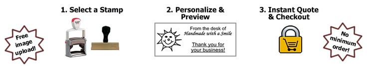 Custom Rubber Stamps:  Personalized Rubber Stamps in Three Easy Steps!  Rubberstamps.net.  Super reasonable prices.  I want to remember this; I have a phrase or two I have never seen on a stamp that they could make for me.