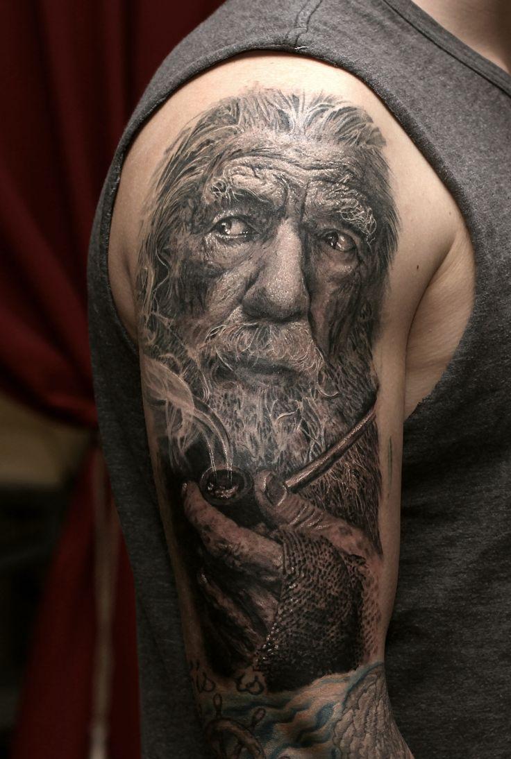 Gandalf Tattoo done by Stefan Müller Black Rainbow Tattoo theatre Zwickau