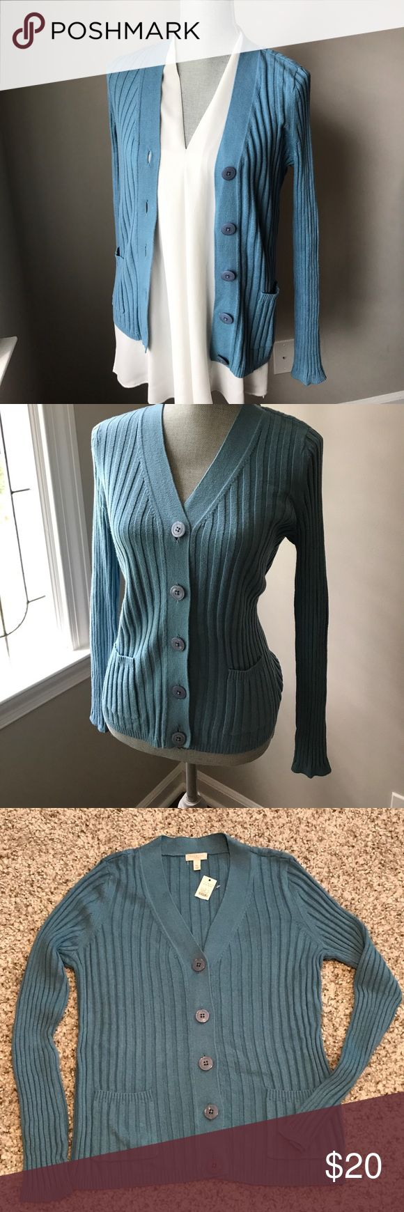 "Talbots Petite Sweater / Cardigan Talbots Petite (cotton-nylon-rayon) blend sweater is the perfect accessory for summer wear to go from outdoor  heat to indoor air conditioning. Beautiful if worn as cardigan or buttoned as a sweater on its own. Ribbed knit cardigan / sweater has five buttons, two patch pockets and measures approximately 16"" (unstretched) to 18"" (lightly stretched) armpit-to-armpit and 15"" underarm to hem. Talbots Sweaters Cardigans"