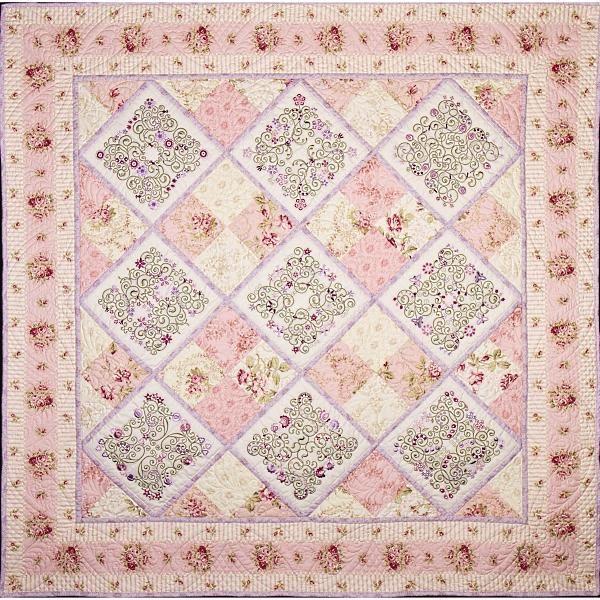 Joanna - Designs By Janet Sansom | OregonPatchWorks, gorgeous pink & white quilt