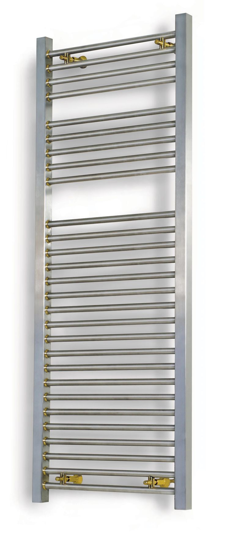 The Aeon Serhad towel rail is suitable for all heating systems as it is manufactured from stainless steel. Reliable and bold this chic design brungs the humble towel rail bang up to date with neat chrome rings between the joints of the vertical & horizontal bars. This product is available in a brushed or polished stainless. Standard central heating, Electric only and dual fuel options available. Complete with a 20 year guarantee, 1 year guarantee on heating elements. Prices from £382.98!