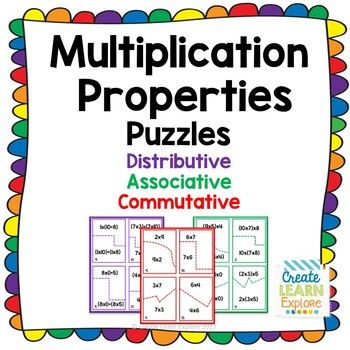 These puzzles are fun practice for reviewing distributive, associative and commutative properties of multiplication.  There are 3 sets of color coded puzzles.  Each set contains 12 puzzles.  A recording sheet is provided.