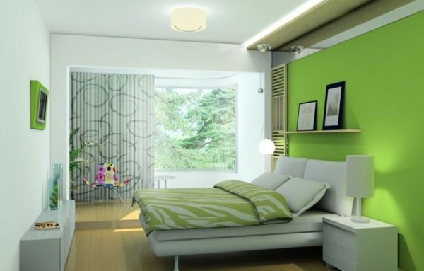 Green feature wall in badroom