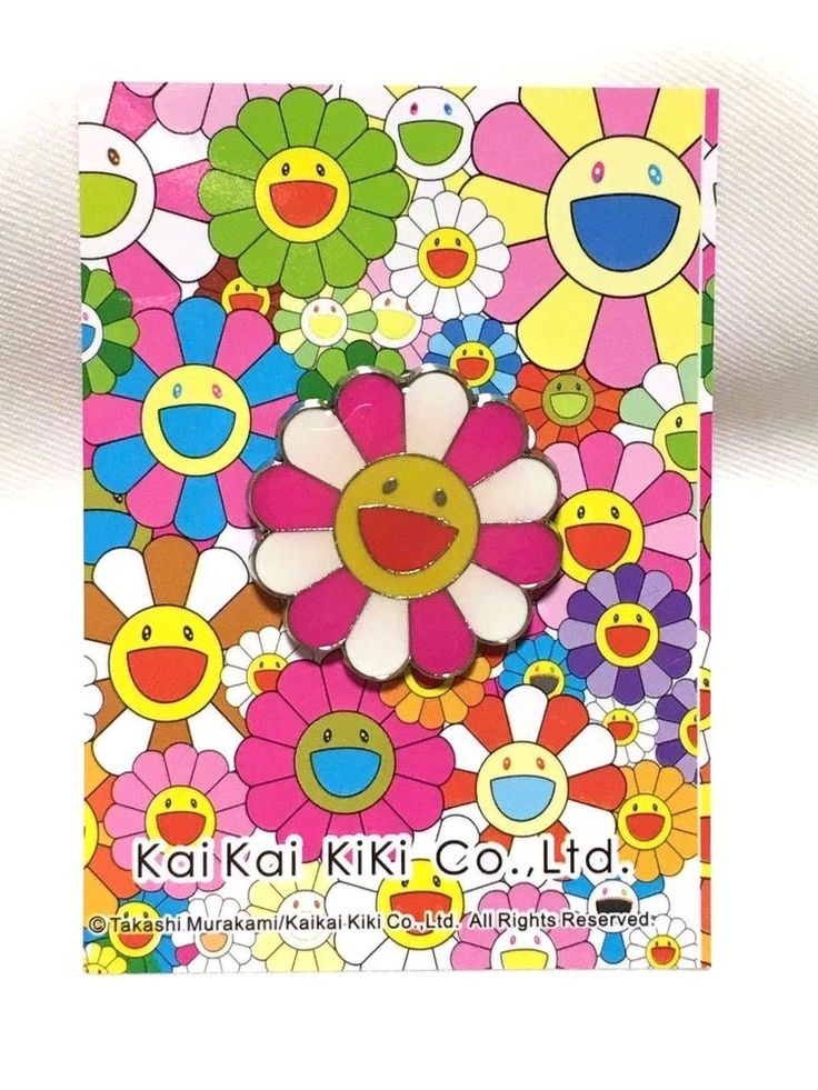 Auth Takashi Murakami Flower Pin Badge Brooches pins