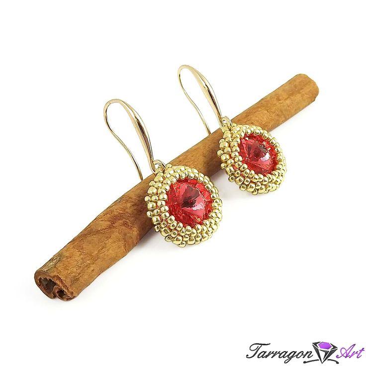 Kolczyki Beaded Swarovski Elements - Padparadscha - Beaded / Kolczyki - Tarragon Art - stylowa biżuteria artystyczna