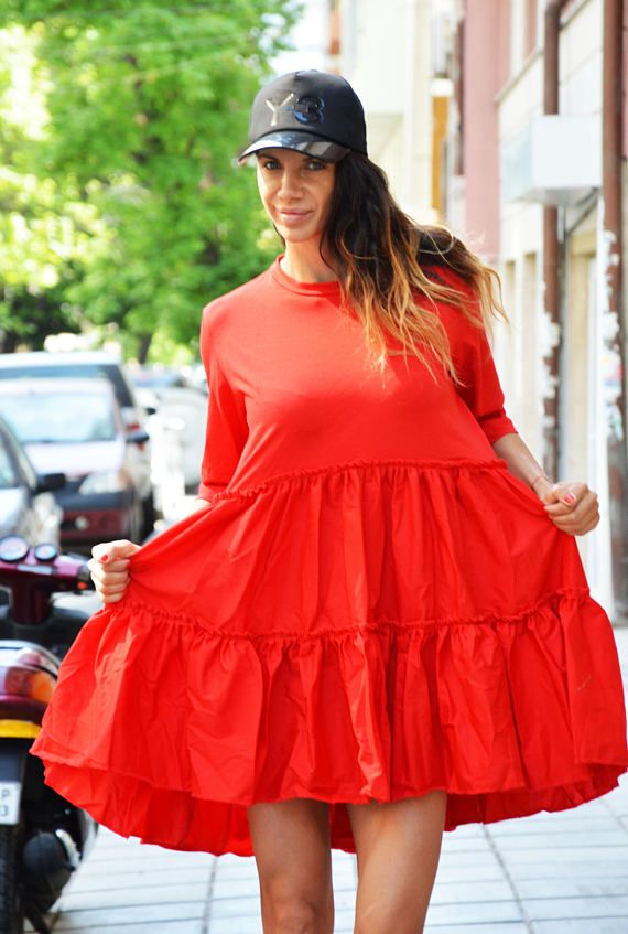 Oversize Red Tunic Dress Cotton Linen Dress Extravagant