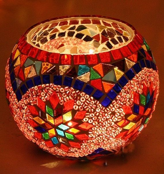 Unique Handmade Turkish Handmade Glass Mosaic Candle Holder, Moroccan mosaic