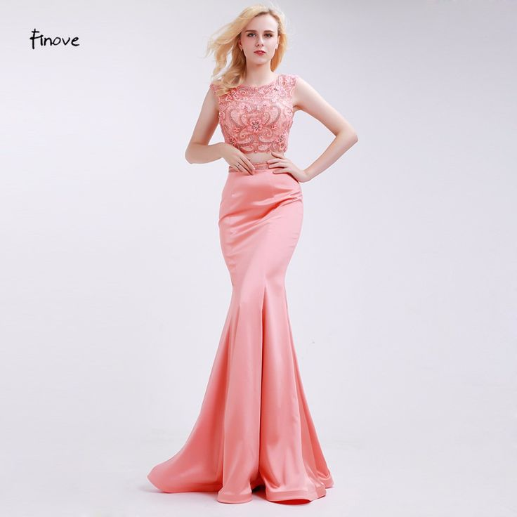 Light Orange Evening Dresses Mermaid Beading Two-Piece Set New Sleeveless Lace Crop Top Floor Length Prom Dresses  #beauty #fashionweek #photooftheday #moda #australianbrand #goodnight #happy #fashionlover #loveit #bestoftheday