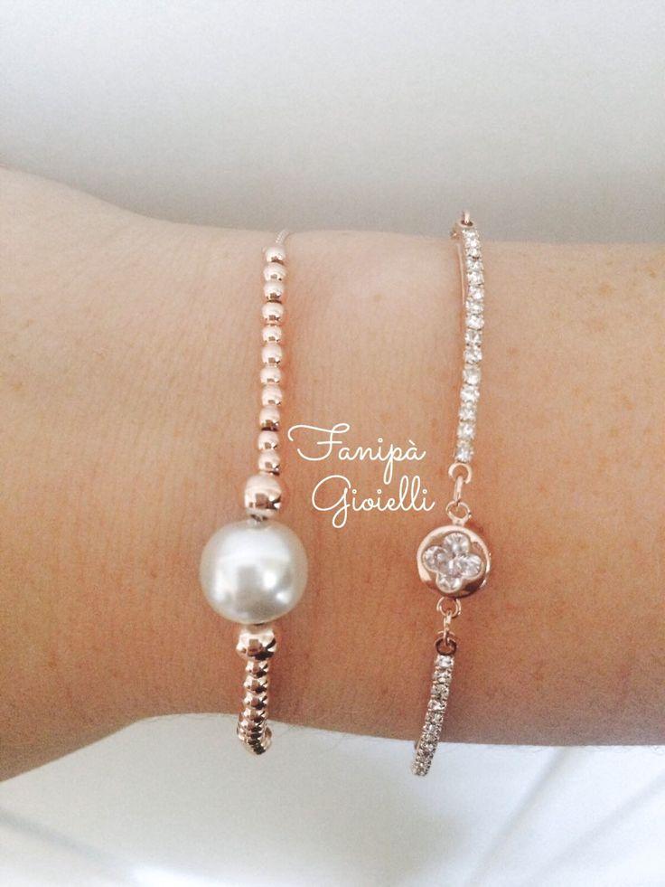 Bracciali donna in oro rosa con perle, Bracciali eleganti con zirconi. di FanipaGioielli su Etsy https://www.etsy.com/it/listing/273713140/bracciali-donna-in-oro-rosa-con-perle