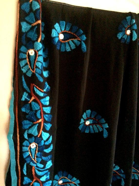 Phulkari Dupatta indische Stickerei lange Stola Schal, traditionelle handgefertigte Chiffon Schal, ethnische Kostüm, Boho-Geschenk für Sie