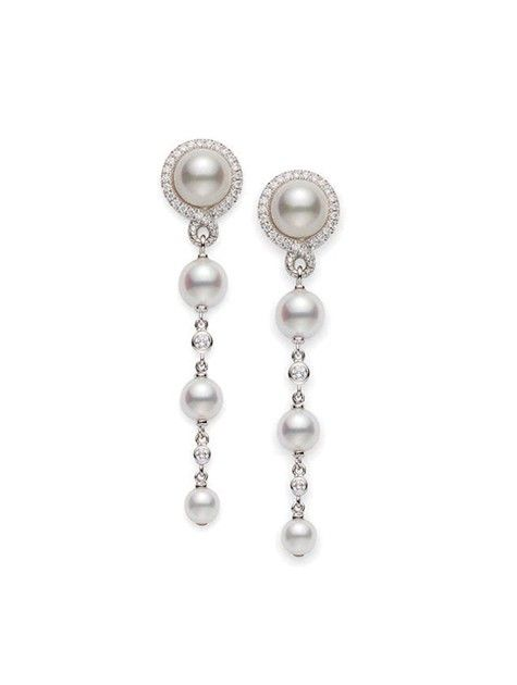 Petit Soleil Earrings; cultured pearls and diamonds in 18ct white gold by Mikimoto.