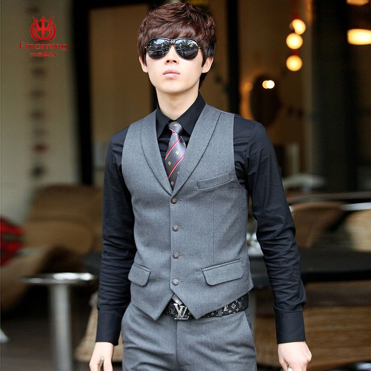 Mens Clothing Business Casual Vest Suit Male Spring And Autumn Slim Wedding Dress Small