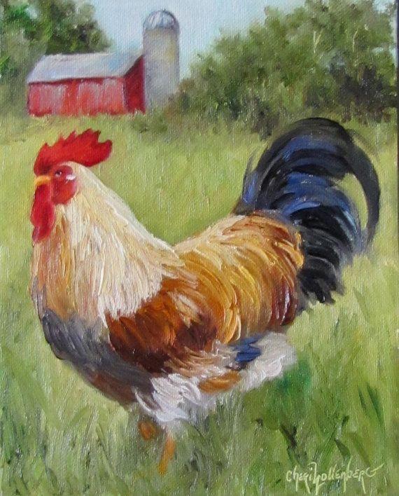 Esta pintura está reservada para Robin - esta pintura es de un colorido gallo con una capa blanca, cola negra y plumas doradas en su espalda.