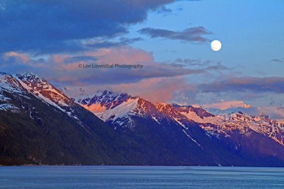 Alaska coastal mountains  at 10 PM  Sunset fine art photograph