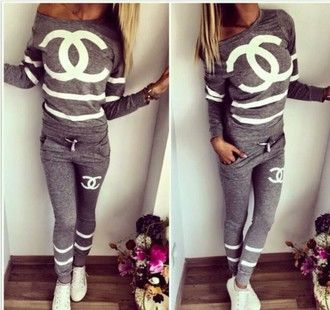 chanel tracksuit. jumpsuit tracksuit chanel grey sexy white print pretty jacket pants sportswear sport suit trendy fashion