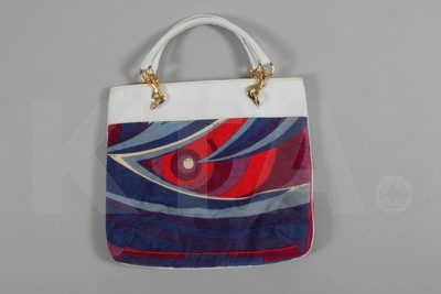 Lot 24: Vintage Pucci printed velvet and leather beach bag early 1970s, in original box. Estimate 150 to 250 £s.  Kerry Taylor Vintage fashion auction  London 2http://kerrytaylorauctions.com/detail.php?id=35661#6th June: Early 1970S, Bags Early, Vintage, Leather Beaches, Beach Bags, Auction London, Beaches Bags, Estim 150, Auction Watches