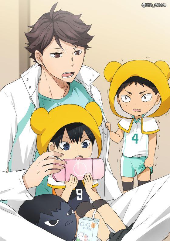 oikawa, chibi!iwaizumi, chibi!kageyama, uniform, http://au-to.tumblr.com/post/123832485479/trio-drawings-top-left-baby-iwa-chan-wants-to, 影山飛雄マジ天使, http://www.pixiv.net/member_illust.php?mode=manga&illust_id=50598784