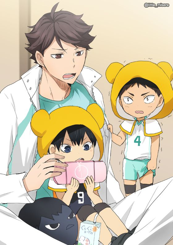oikawa, chibi!iwaizumi, chibi!kageyama, uniform, http://au-to.tumblr.com/post/123832485479/trio-drawings-top-left-baby-iwa-chan-wants-to, 影山飛雄マジ天使, http://www.pixiv.net/member_illust.php?mode=manga&illust_id=50598784