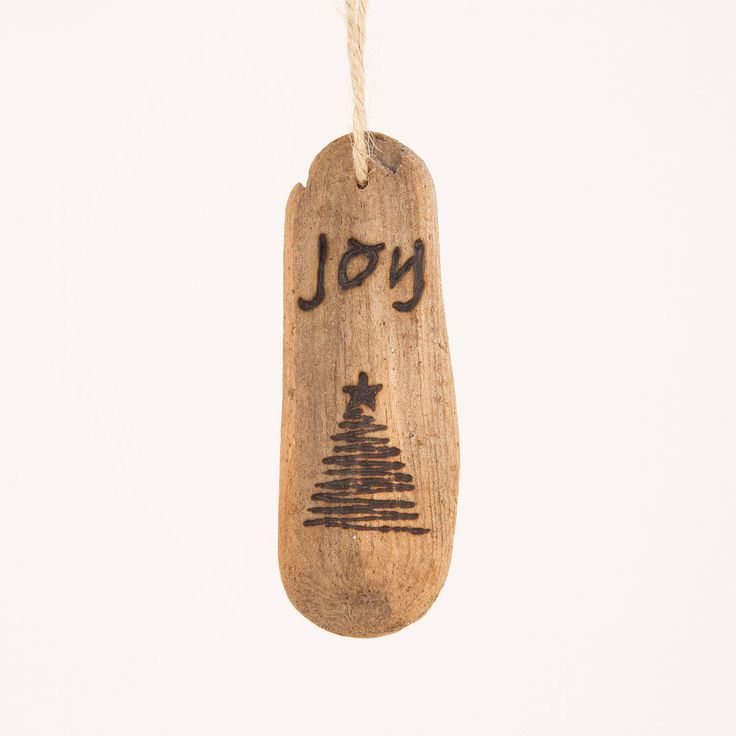 Joy Driftwood Christmas Ornament with wood by OnceUponAShore