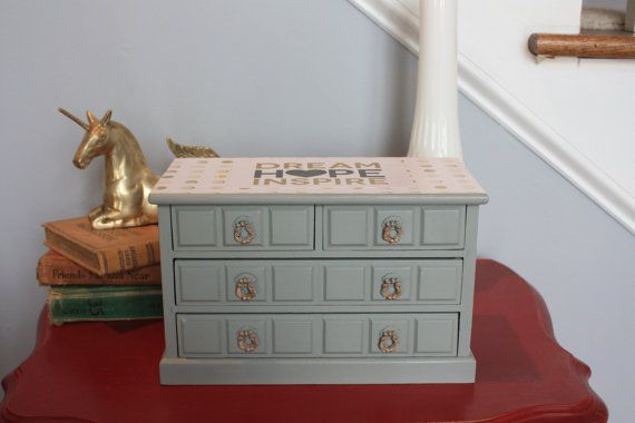 $50. BrownDogEmporium. 10 x 7 x 5. Vintage jewelry music box chalk painted grey. Carpenters song. Gold and white. Sold. L.4/13/16.