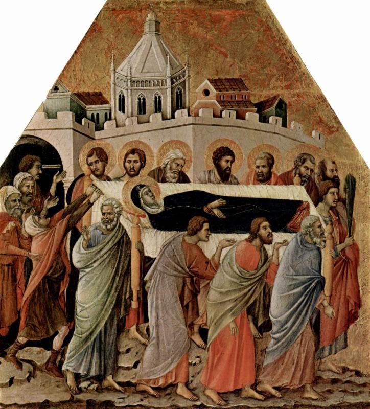 Маэста, алтарь сиенского кафедрального собора, передняя сторона, Алтарь со сценами Успения Марии: Погребение Марии Дуччо ди Буонинсенья
