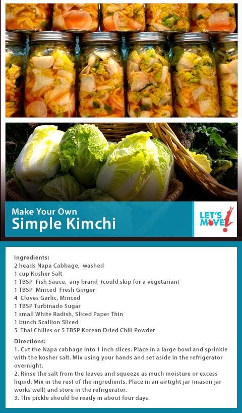 Michelle Obama's nonfat vegan kimchi. Looks good! Similar to Madhur Jaffrey's simple kimchi recipe.