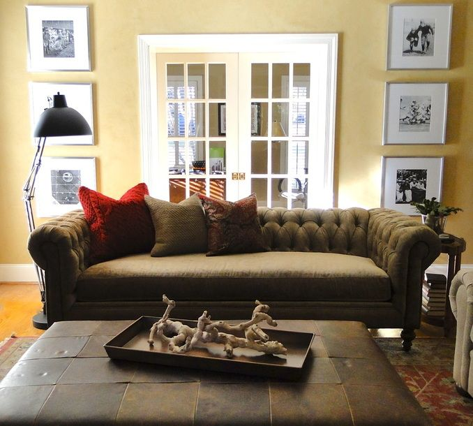 A Happy Customer Sent Us This Picture Of A Chesterfield Velvet Sofa With  Large Blind Tufted Leather Ottoman