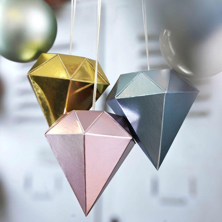Ikea diamond decorations in pastel and gold