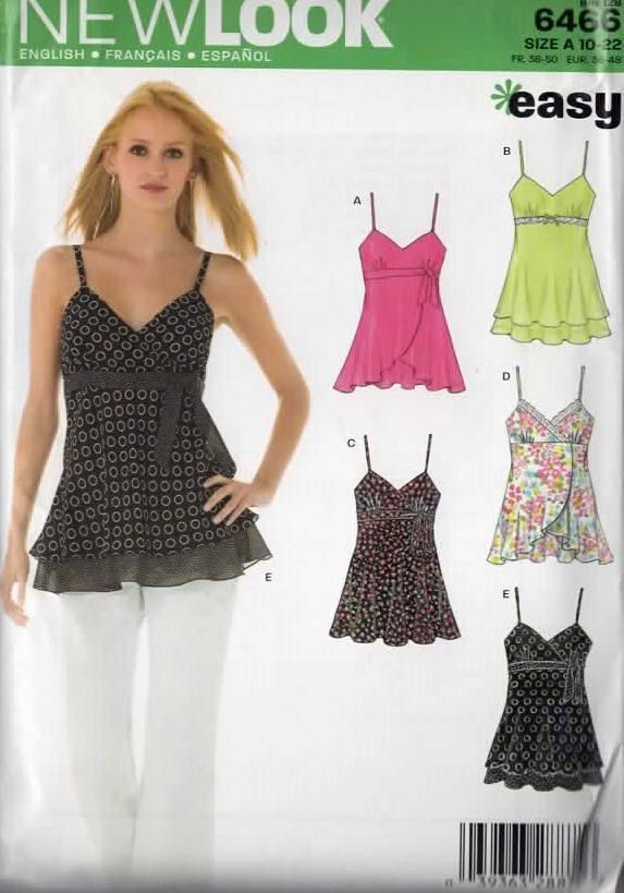 OOP Misses Camisole Summer Top New Look 6466 Sewing Pattern Regular and Plus Size 10-22 UNCUT by sandritocat on Etsy