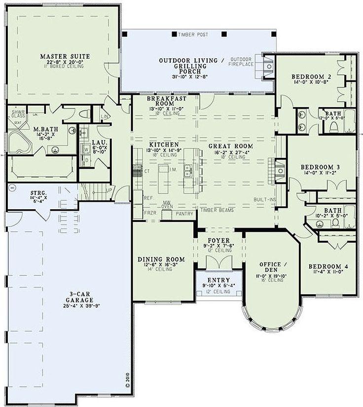 European Style House Plan – 4 Beds 3 Baths 3052 Sq…