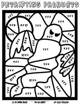 Halloween Color By Number Multiplication Worksheets