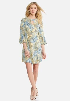 9a094106a1 Plus Size Paisley Bell Sleeve Dress. Cato Fashions ...