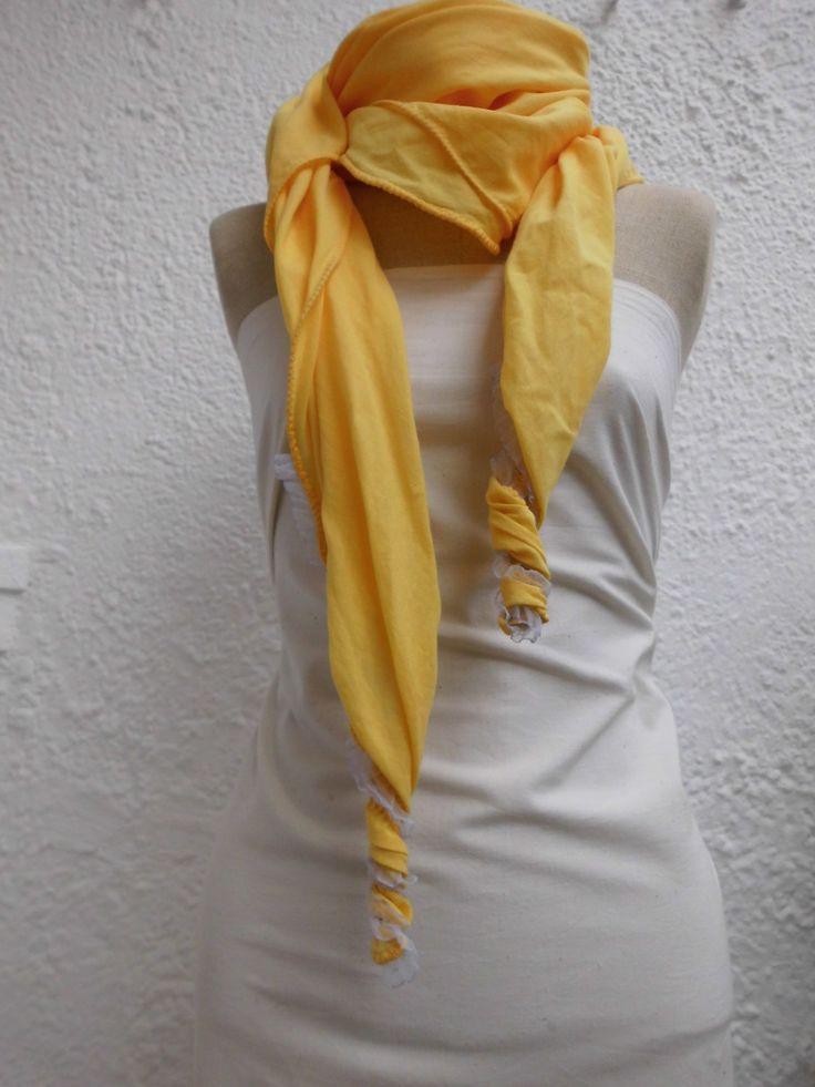 Tuch Clarissa Damen gelb Baumwolle mit Spitzenende handgefärbt von ragaga auf Etsy